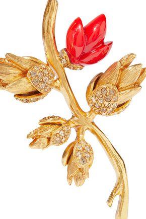 OSCAR DE LA RENTA Gold-tone, crystal and resin brooch