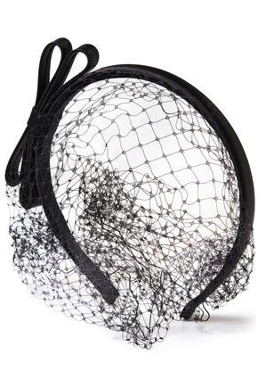 REDValentino Satin-trimmed bow-embellished mesh veil