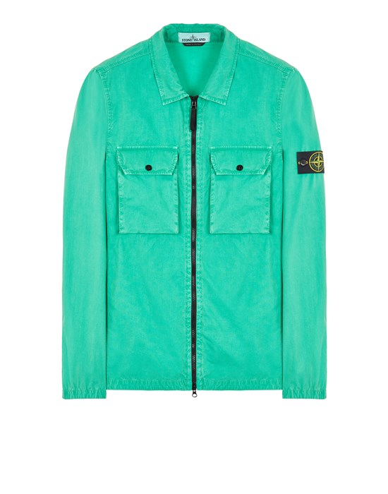 STONE ISLAND 113WN BRUSHED COTTON CANVAS_'OLD' EFFECT Over Shirt Herr Grün