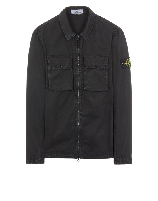 STONE ISLAND 113WN BRUSHED COTTON CANVAS_'OLD' EFFECT Over Shirt Man Black