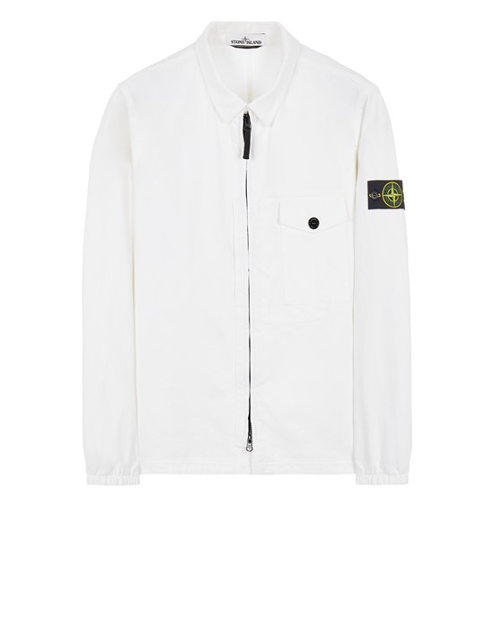 STONE ISLAND 10704 TEXTURED BRUSHED RECYCLED COTTON  Over Shirt Herr Weiß