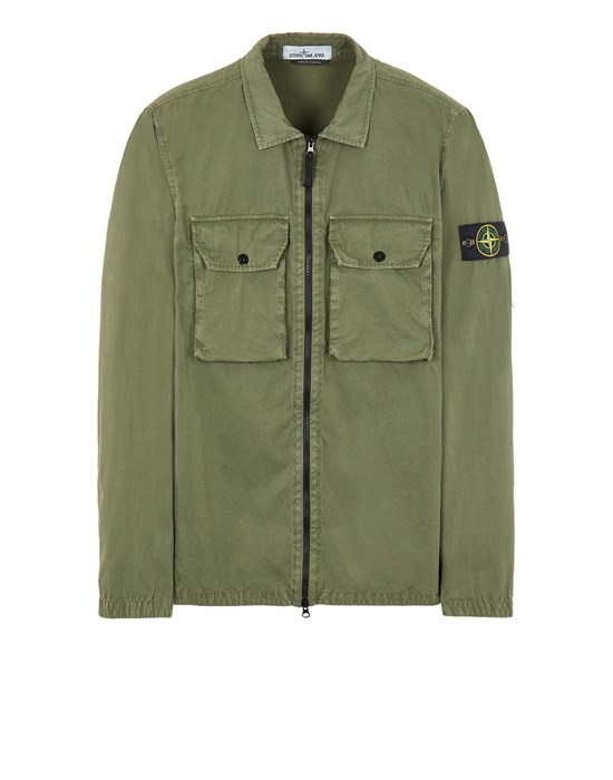 Sold out - Other colours available STONE ISLAND 113WN BRUSHED COTTON CANVAS_'OLD' EFFECT Over Shirt Man Sage Green