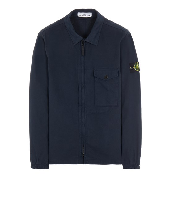 STONE ISLAND 10704 TEXTURED BRUSHED RECYCLED COTTON Over Shirt Herr Blau