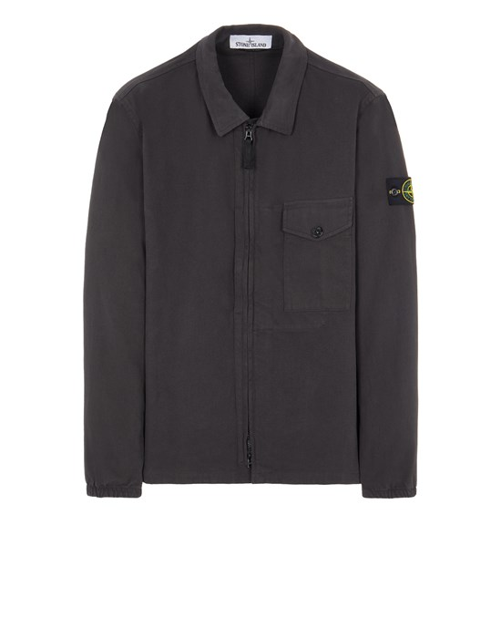 Over Shirt Man 10704 TEXTURED BRUSHED RECYCLED COTTON Front STONE ISLAND