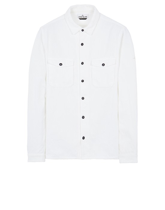 STONE ISLAND 12111 COTTON CORDUROY Long sleeve shirt Man White