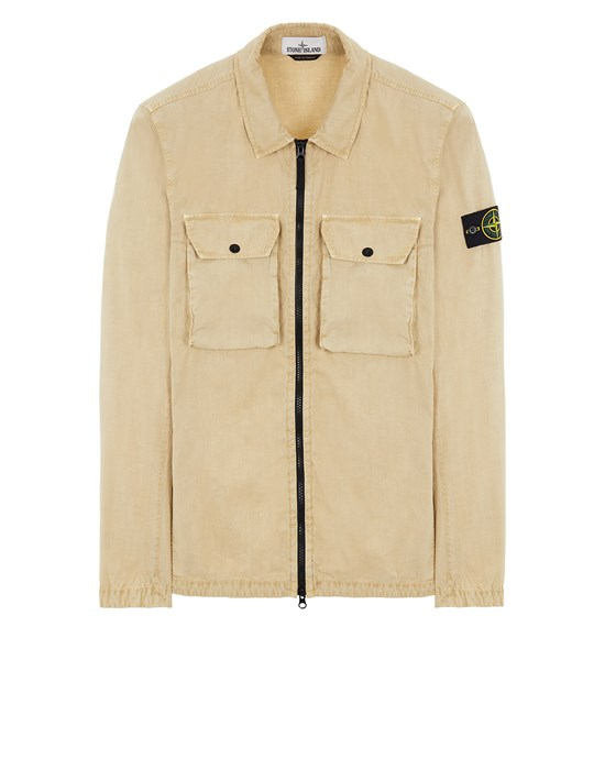 STONE ISLAND 113WN BRUSHED COTTON CANVAS_'OLD' EFFECT Over Shirt Herr Ecru