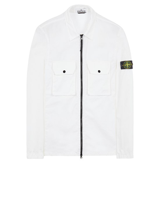 STONE ISLAND 113WN BRUSHED COTTON CANVAS_'OLD' EFFECT Over Shirt Herr Weiß