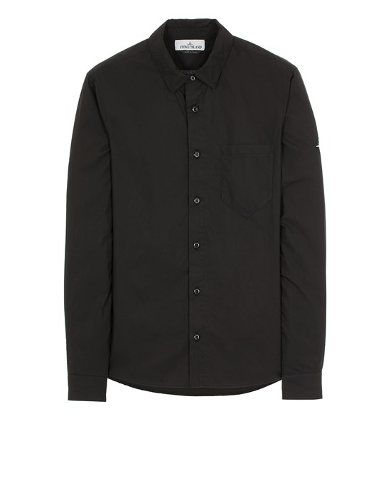 STONE ISLAND 12501 LIGHT COTTON TELA 'PARACADUTE' Long sleeve shirt Man Black