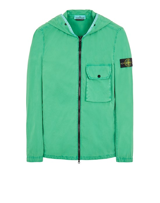STONE ISLAND 114WN BRUSHED COTTON CANVAS_'OLD' EFFECT 오버셔츠 남성 그린