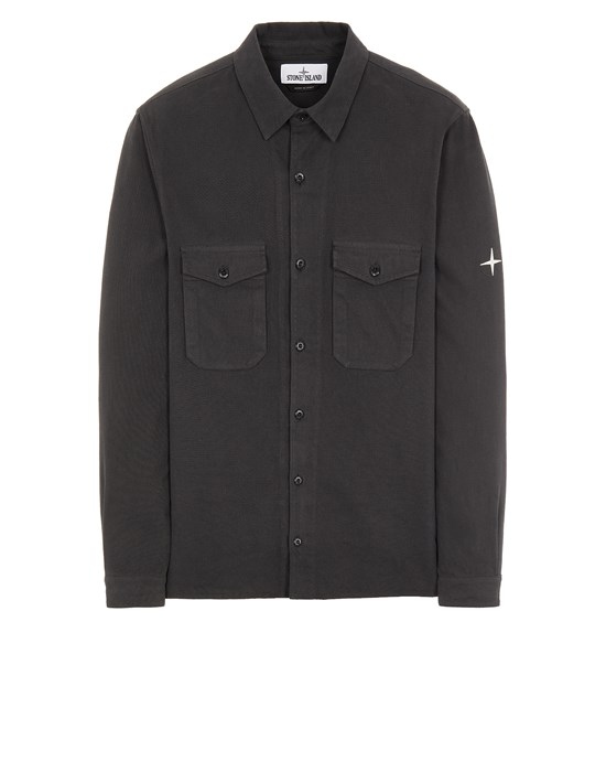 STONE ISLAND 12004 TEXTURED BRUSHED RECYCLED COTTON_REGULAR FIT  Long sleeve shirt Man Steel Gray