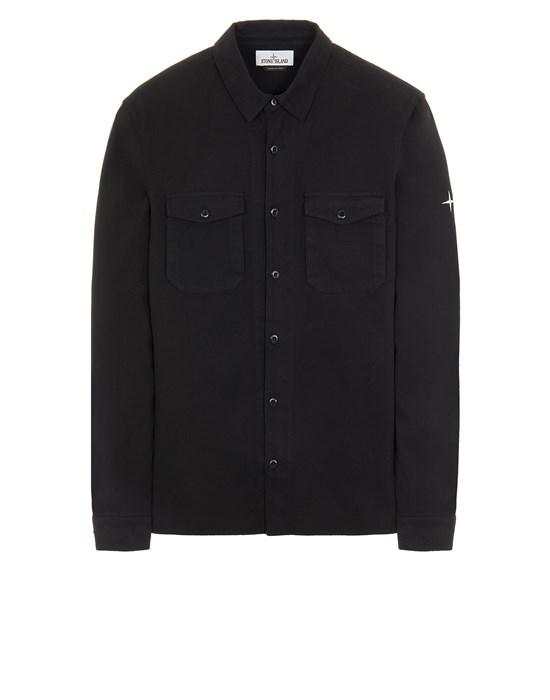 STONE ISLAND 12004 TEXTURED BRUSHED RECYCLED COTTON_REGULAR FIT  Long sleeve shirt Man Black