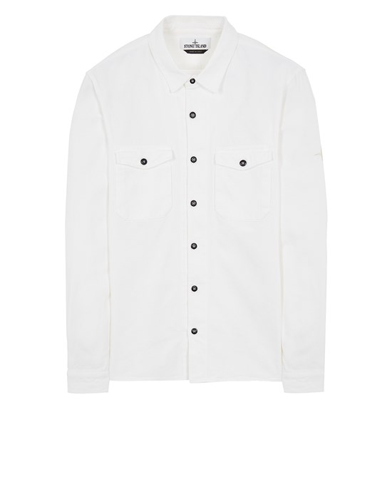 STONE ISLAND 12004 TEXTURED BRUSHED RECYCLED COTTON_REGULAR FIT  Long sleeve shirt Man White