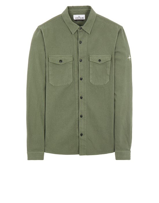 STONE ISLAND 12004 TEXTURED BRUSHED RECYCLED COTTON_REGULAR FIT  Long sleeve shirt Man Sage Green