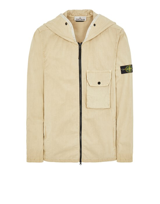 STONE ISLAND 114WN BRUSHED COTTON CANVAS_'OLD' EFFECT 오버셔츠 남성 에크루