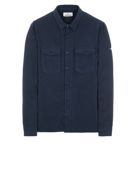 STONE ISLAND 12004 TEXTURED BRUSHED RECYCLED COTTON_REGULAR FIT  Long sleeve shirt Man Blue