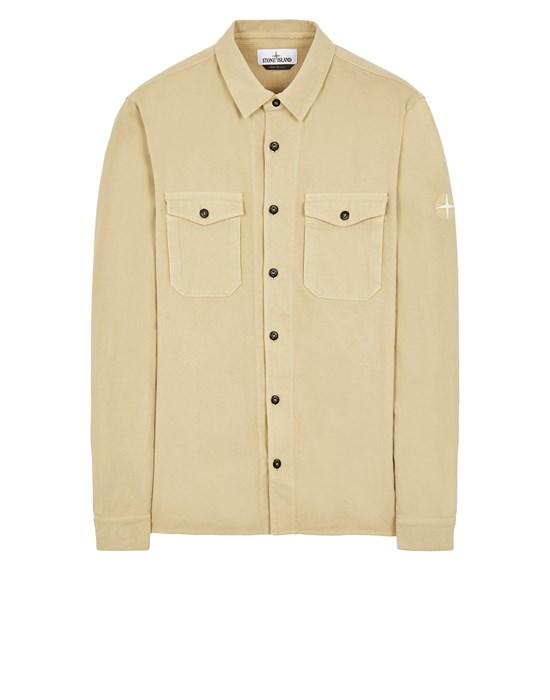 STONE ISLAND 12004 TEXTURED BRUSHED RECYCLED COTTON_REGULAR FIT  Long sleeve shirt Man Ecru