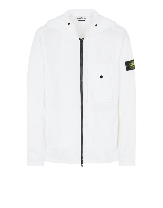STONE ISLAND 114WN BRUSHED COTTON CANVAS_'OLD' EFFECT Over Shirt Herr Weiß
