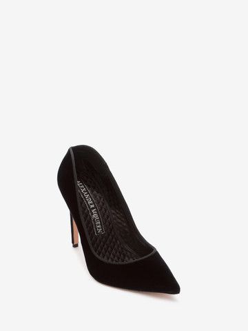 ALEXANDER MCQUEEN Velvet Pump HEART POINTY PUMP Woman r