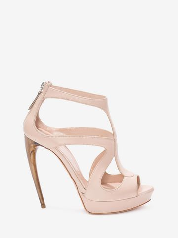 Curved horn-heel leather sandals Alexander McQueen WQhgGIG