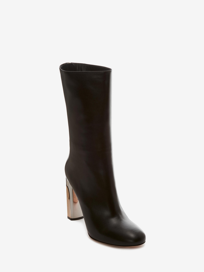 ALEXANDER MCQUEEN Bi-Color Sculpted Heel Fitted Bootie Boots D r