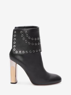 Bi-Color Sculpted Heel Eyelet Ankle Boot