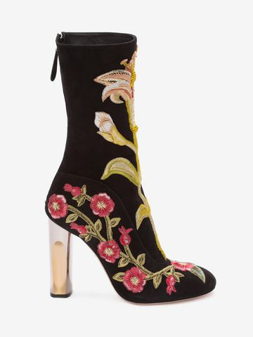 Alexander McQueen Medieval Embroidered boots with Bicolour Sculpted Heel buy cheap wholesale price RtXK2