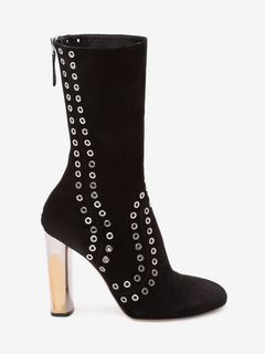Bi-Color Sculpted Heel Eyelet Fitted Bootie