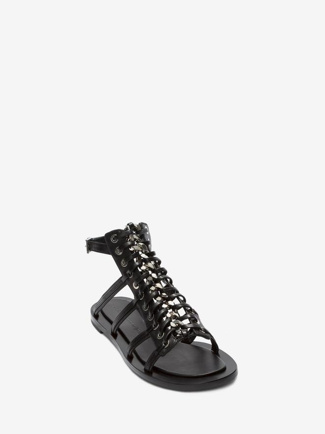 ALEXANDER MCQUEEN Braided Chain Sandal Flat Sandal Woman r