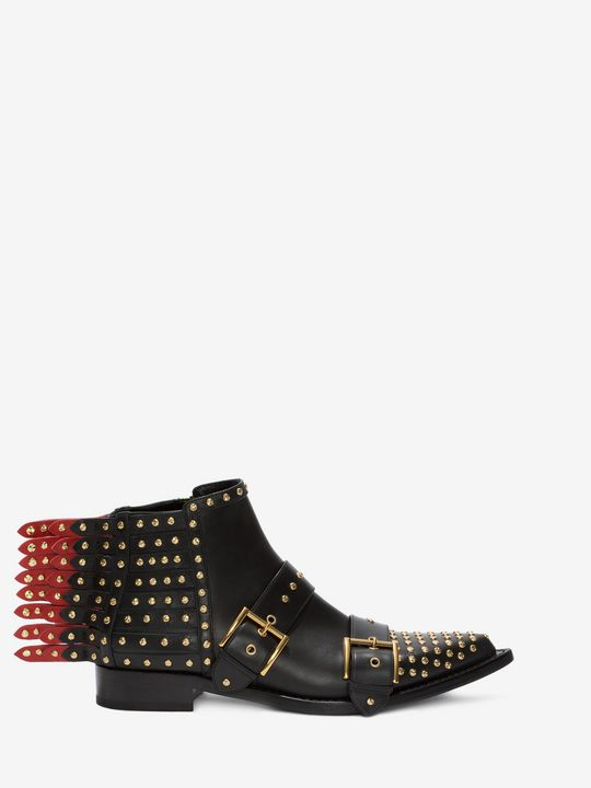 ALEXANDER MCQUEEN Fringed Studded Ankle Boot Braided Chain Boot D f