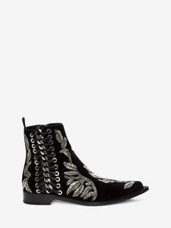 编织链饰踝靴