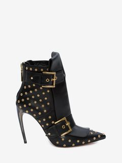 Double Buckle Horn Heel Boot
