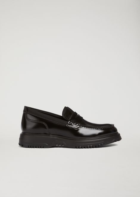 Brushed Leather Loafers for Men | Emporio Armani | Tuggl