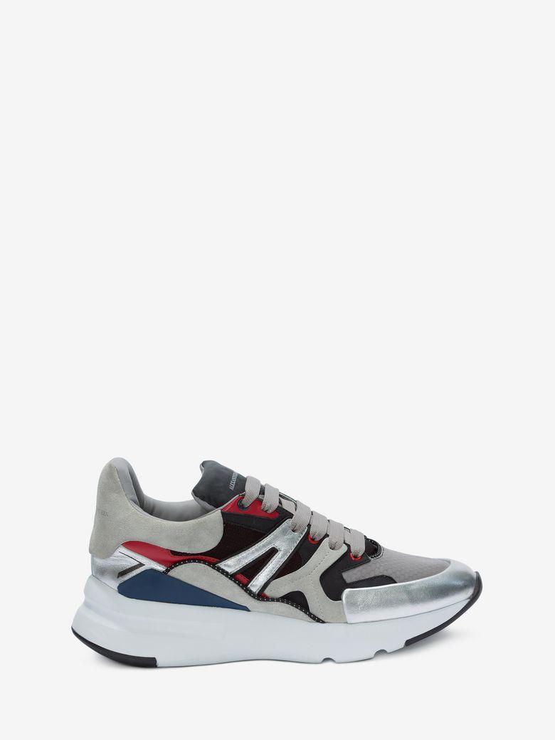 Men'S Oversized Colorblock Runner Sneakers, White Pattern, Multicolor