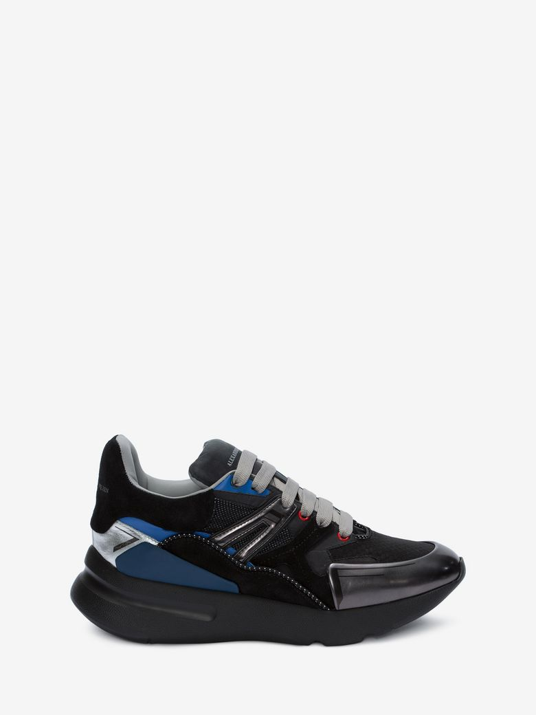 Men'S Oversized Colorblock Runner Sneakers, Black Pattern, Black/Multicolor