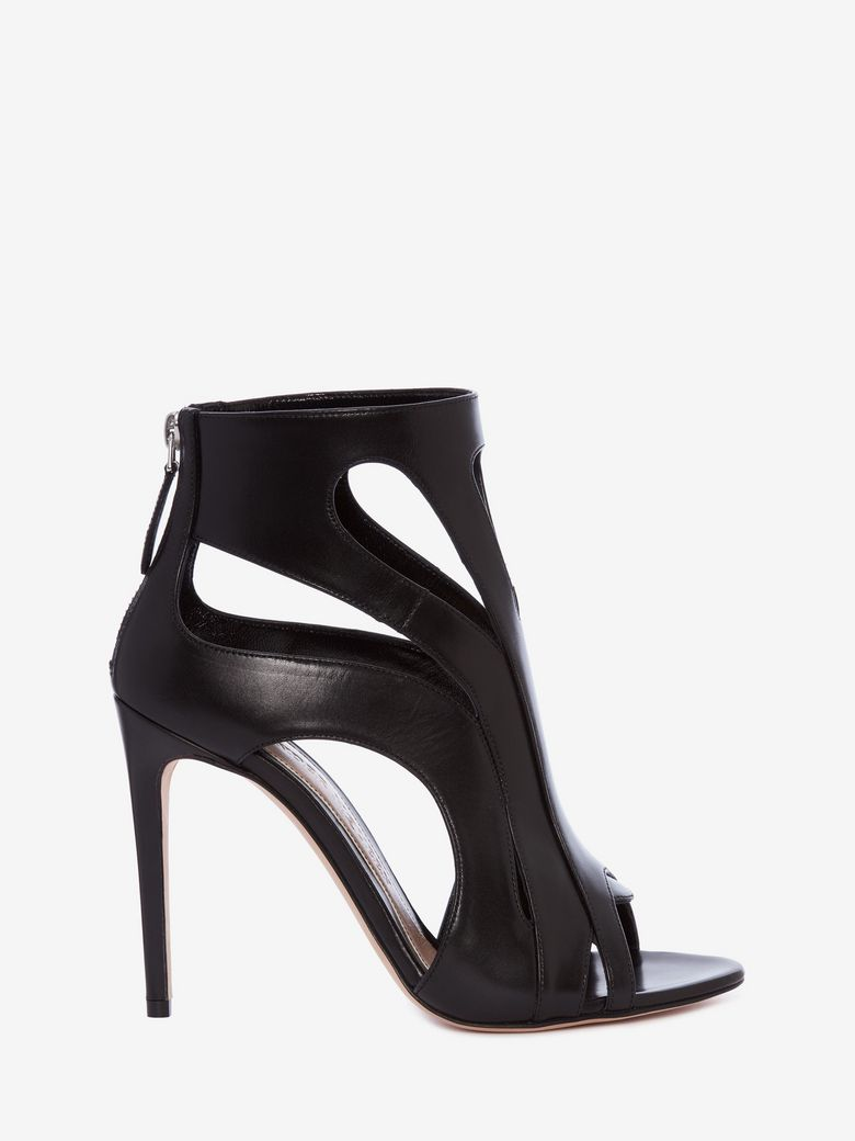 CAGED SUEDE BOOTIE SANDAL