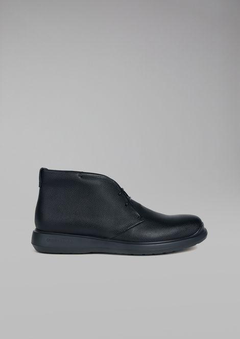 Printed Calfskin Leather Desert Boot for Men | Giorgio Armani | Tuggl