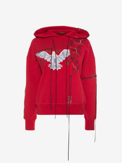 ALEXANDER MCQUEEN Sweatshirt Woman Embroidered Hooded Sweatshirt  f