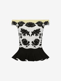 ALEXANDER MCQUEEN Top Woman Off-The-Shoulder Peplum Knit Top f