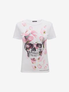 ALEXANDER MCQUEEN Top D T-shirt imprimé Skull et pétales f