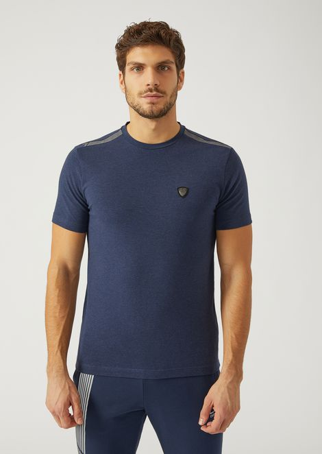 T Shirt In Stretch Cotton Jersey With Patch for Men | Emporio Armani | Tuggl