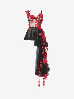 ALEXANDER MCQUEEN Top D Pressed Rose Embroidery Bustier Top f