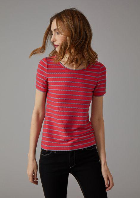 T-Shirt mit geflochtenen Streifen. | Damen | Giorgio Armani