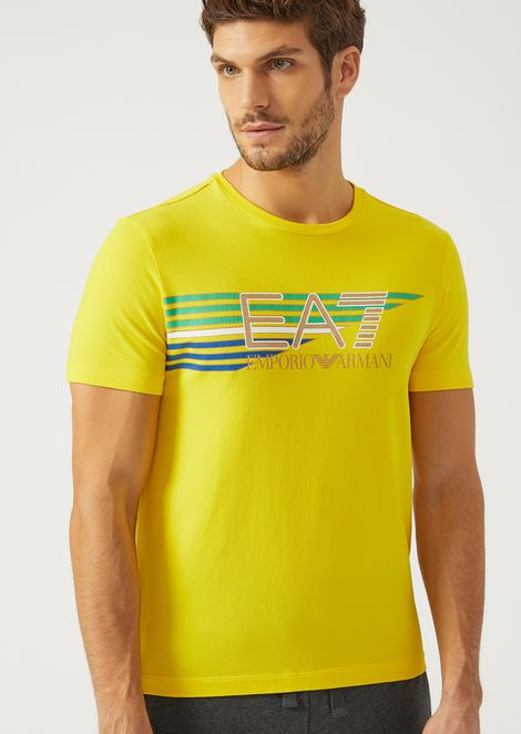 Stretch Jersey T Shirt With Maxi Logo for Men | Emporio Armani | Tuggl