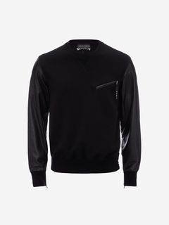 ALEXANDER MCQUEEN Sweatshirt Man Leather Patchwork Sweatshirt f