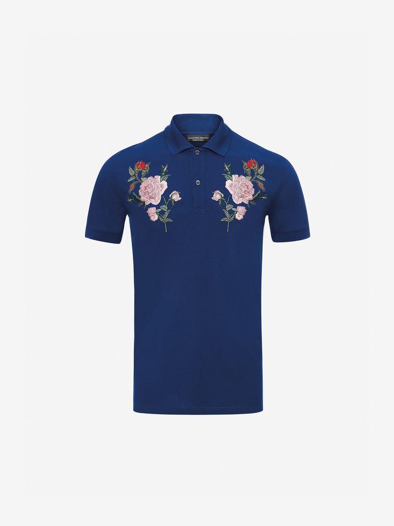 Alexander Mcqueen Rose Embroidery Polo Shirt In Blue Modesens