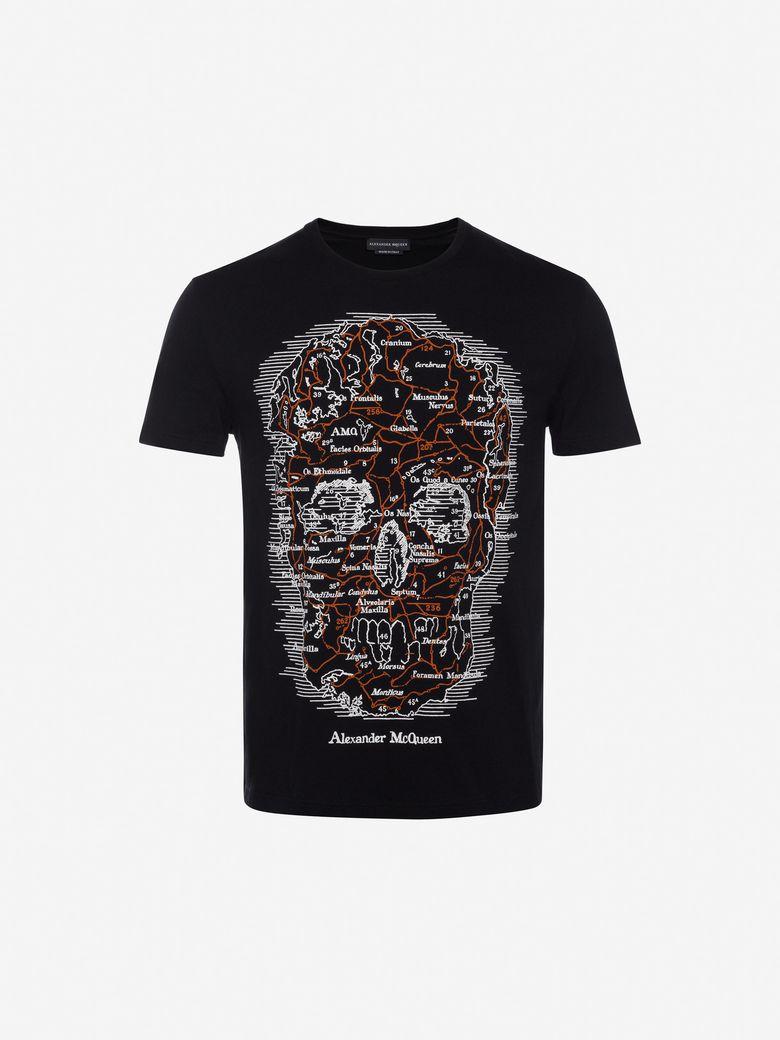 ALEXANDER MCQUEEN Skull-Print Cotton-Jersey T-Shirt, Black/Multicolor