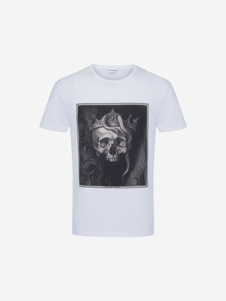 ALEXANDER MCQUEEN Skull Organic Cotton Jersey T-Shirt, White/Multicolor