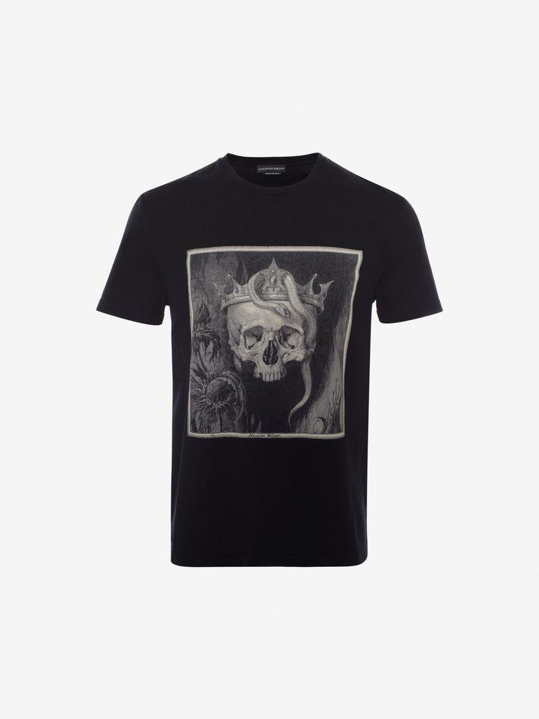 ALEXANDER MCQUEEN Skull Organic Cotton Jersey T-Shirt, Black/Multicolor
