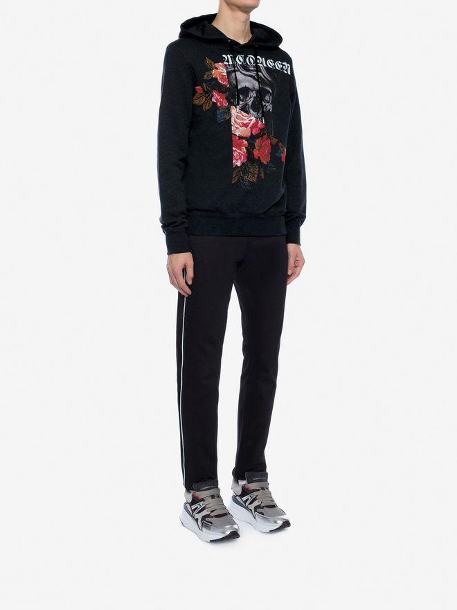 ALEXANDER MCQUEEN Sweat-shirt à capuche Skull et Rose effet patchwork Sweat-shirt Homme d