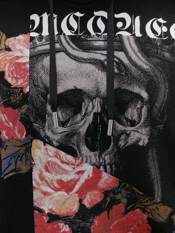 ALEXANDER MCQUEEN Sweat-shirt à capuche Skull et Rose effet patchwork Sweat-shirt Homme a